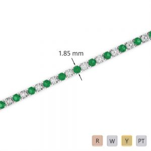 Gold / Platinum Round Cut Emerald and Diamond Bracelet AGBRL-1013