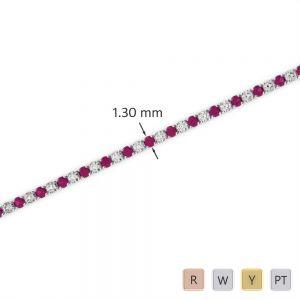 Gold / Platinum Diamond & Gemstone Bracelet AGBRL-1001