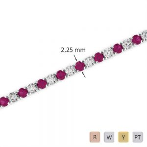 Gold / Platinum Round Cut Ruby and Diamond Bracelet AGBRL-1004
