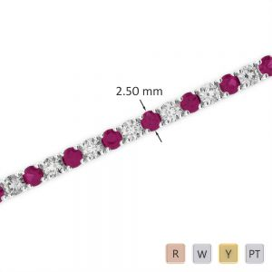 Gold / Platinum Round Cut Ruby and Diamond Bracelet AGBRL-1006