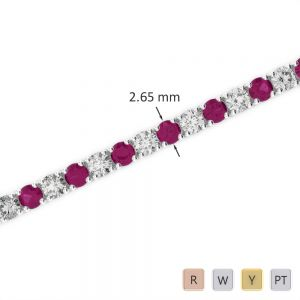 Gold / Platinum Round Cut Ruby and Diamond Bracelet AGBRL-1007