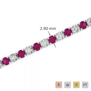Gold / Platinum Round Cut Ruby and Diamond Bracelet AGBRL-1008