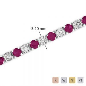 Gold / Platinum Round Cut Ruby and Diamond Bracelet AGBRL-1009
