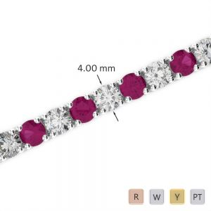 Gold / Platinum Round Cut Ruby and Diamond Bracelet AGBRL-1011