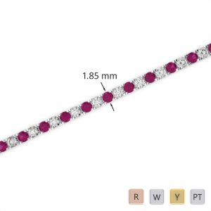 Gold / Platinum Round Cut Ruby and Diamond Bracelet AGBRL-1013