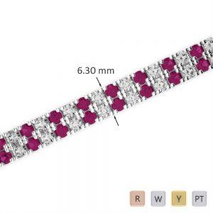 Gold / Platinum Diamond & Gemstone Bracelet AGBRL-1048
