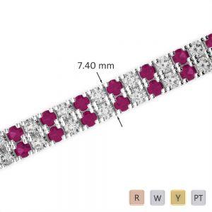 Gold / Platinum Diamond & Gemstone Bracelet AGBRL-1049
