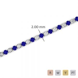 Gold / Platinum Round Cut Sapphire and Diamond Bracelet AGBRL-1003