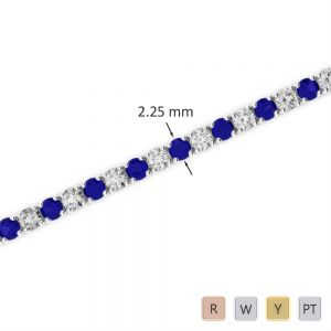 Gold / Platinum Round Cut Sapphire and Diamond Bracelet AGBRL-1004
