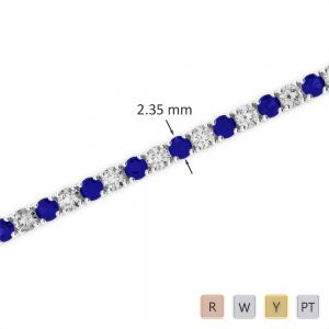 Gold / Platinum Round Cut Sapphire and Diamond Bracelet AGBRL-1005