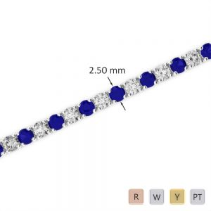Gold / Platinum Round Cut Sapphire and Diamond Bracelet AGBRL-1006