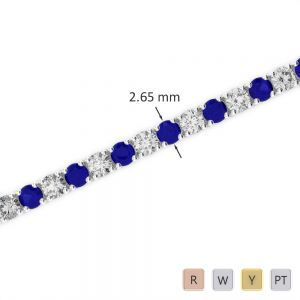 Gold / Platinum Round Cut Sapphire and Diamond Bracelet AGBRL-1007