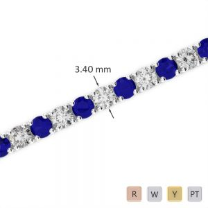 Gold / Platinum Round Cut Sapphire and Diamond Bracelet AGBRL-1009