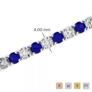 Gold / Platinum Round Cut Sapphire and Diamond Bracelet AGBRL-1011