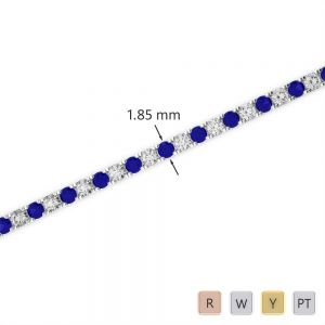 Gold / Platinum Round Cut Sapphire and Diamond Bracelet AGBRL-1013
