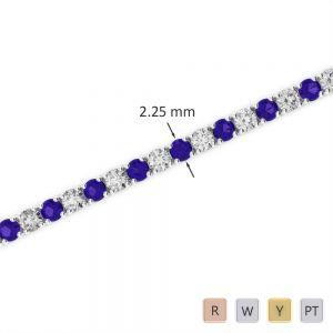 Gold / Platinum Round Cut Tanzanite and Diamond Bracelet AGBRL-1004