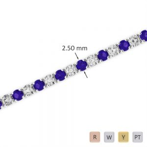 Gold / Platinum Round Cut Tanzanite and Diamond Bracelet AGBRL-1006