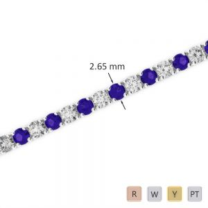Gold / Platinum Round Cut Tanzanite and Diamond Bracelet AGBRL-1007