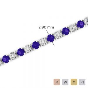 Gold / Platinum Round Cut Tanzanite and Diamond Bracelet AGBRL-1008