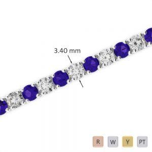 Gold / Platinum Round Cut Tanzanite and Diamond Bracelet AGBRL-1009