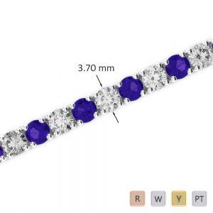Gold / Platinum Round Cut Tanzanite and Diamond Bracelet AGBRL-1010