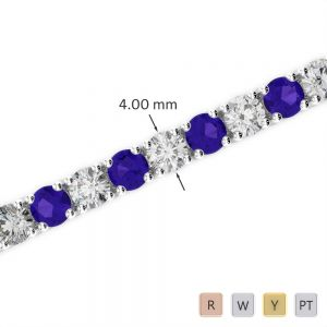 Gold / Platinum Diamond & Gemstone Bracelet AGBRL-1011