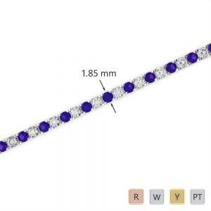 Gold / Platinum Round Cut Tanzanite and Diamond Bracelet AGBRL-1013
