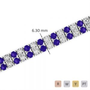Gold / Platinum Diamond & Gemstone Bracelet AGBRL-1037