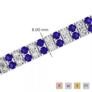 Gold / Platinum Diamond & Gemstone Bracelet AGBRL-1039