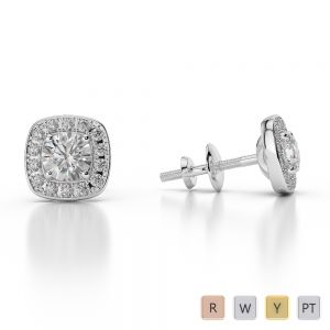 Gold / Platinum Diamond Halo Earrings AGER-1011