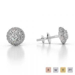 Gold / Platinum Diamond Halo Earrings AGER-1012