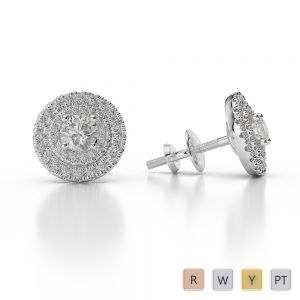 Gold / Platinum Diamond Halo Earrings AGER-1013