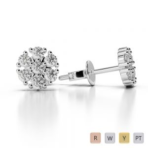 Gold / Platinum Diamond Cluster Earring AGER-1016