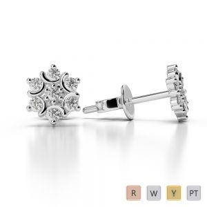Gold / Platinum Diamond Cluster Earring AGER-1017