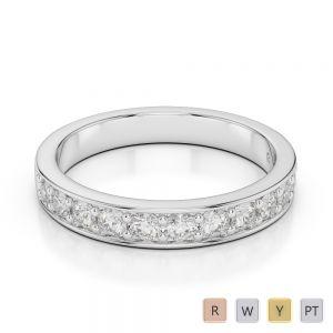 3 MM Gold / Platinum Diamond Half Eternity Ring AGDR-1084