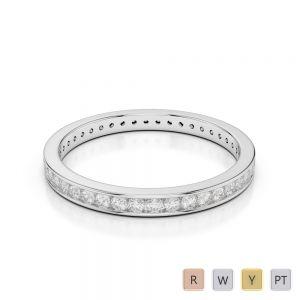2.5MM Gold / Platinum Diamond Full Eternity Ring AGDR-1086