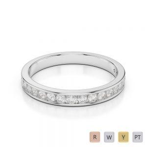 3 MM 18 Kt White Gold Round Cut Diamond Half Eternity Ring AGDR-1090