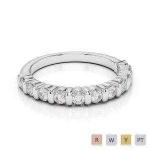 2.5 MM 18 Kt White Gold Round Cut Diamond Half Eternity Ring AGDR-1096