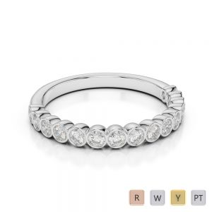 2.5 MM 18 Kt White Gold Round Cut Diamond Half Eternity Ring AGDR-1102