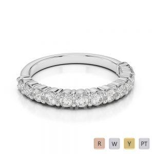 2.5 MM 18 Kt White Gold Round Cut Diamond Half Eternity Ring AGDR-1114