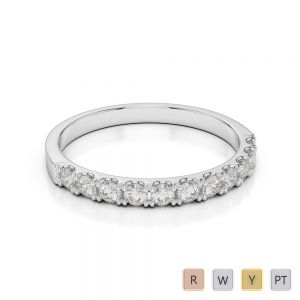 2 MM 18 Kt White Gold Round Cut Diamond Half Eternity Ring AGDR-1123