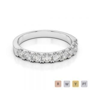 2.5 MM 18 Kt White Gold Round Cut Diamond Half Eternity Ring AGDR-1124