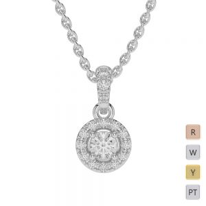 Gold / Platinum Diamond Halo Necklace AGDNC-0760