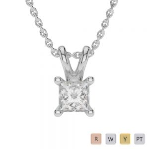 Gold / Platinum Princess Shape Diamond Solitaire Necklace AGDNC-1007