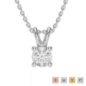 Gold / Platinum Round Shape Diamond Solitaire Necklace AGDNC-1009