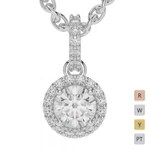 Gold / Platinum Diamond Halo Necklace AGDNC-1010