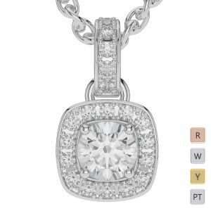 Gold / Platinum Diamond Halo Necklace AGDNC-1011
