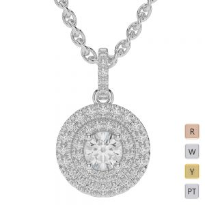 Gold / Platinum Diamond Halo Necklace AGDNC-1013