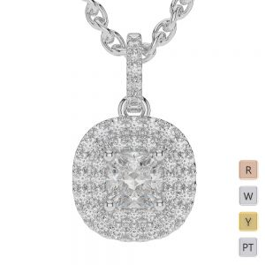 Gold / Platinum Diamond Halo Necklace AGDNC-1014