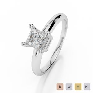 Gold / Platinum Princess Shape Diamond Solitaire Ring AGDR-1007